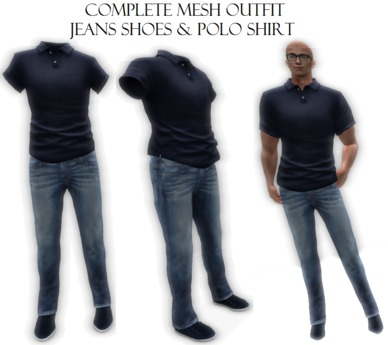 Complete Male Men Mesh Outfit  Jeans & Shoes & Polo almost free clothes