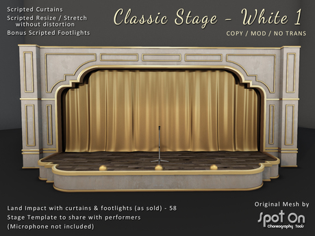 *SO* Classic Stage - WHITE 1 / Gold Curtains