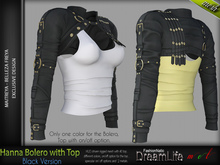 FashionNatic - HANNA BOLERO WITH TOP BLACK SINGLE COLOR