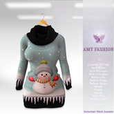 =AF= Snowman Mesh Sweater - Blue