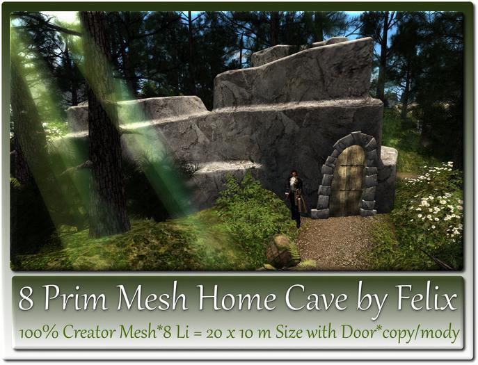 8 Prim Mesh Home Cave by Felix 20x10m Size copy-mody