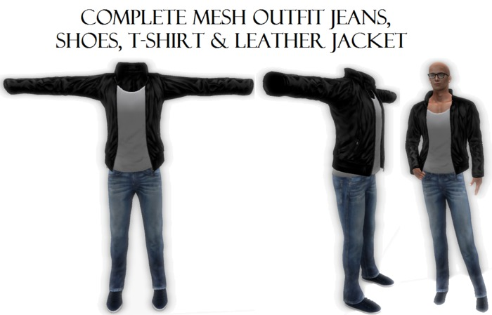 Complete Male Men Mesh Outfit Jeans & Shoes & T-shirt & jacket almost free clothes