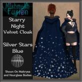 ~*MF*~ Starry Night Velvet Cloak - Silver Stars Blue