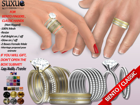 [SuXue Mesh] DEMO Bada For Bento & Classic Hands Wedding Rings & Bands, Hud, Resize, Proposal Pose, Female & Male