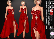 .:S&B:. Strapless Prom Party Dress red