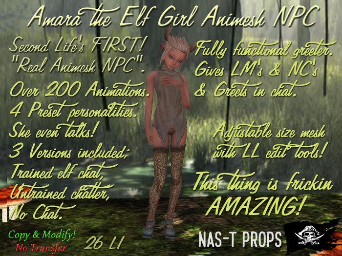 Amara - NaS-T Animesh Elf Girl NPC The FIRST TRUE ANIMESH NPC in SL! Chat & Greeter bot Legacy price 50L$ Off!