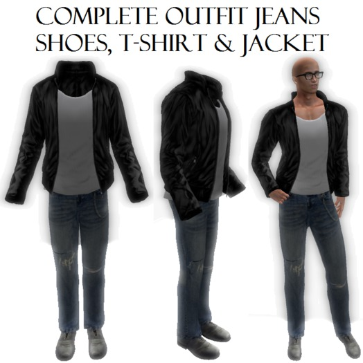 Complete Male Men Mesh Outfit Jeans Shoes T-shirt Leather Jacket almost free clothes