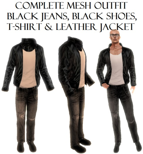 Complete Male Men Outfit Black Jeans Shoes TShirt Leather Jacket almost free clothes