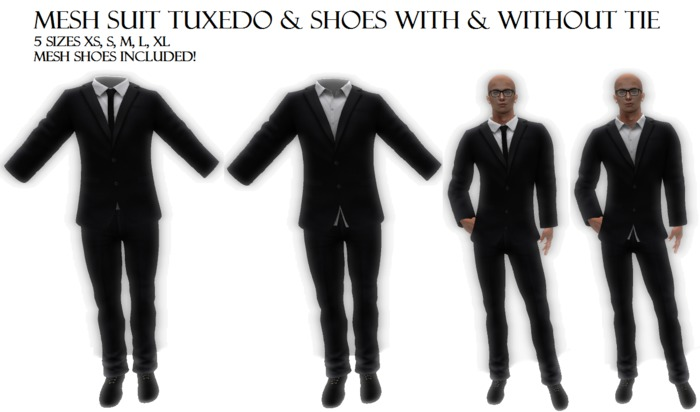 Complete Mesh Male Men Outfit Suit Costume Tuxedo with shoes 5 sizes black white shirt almost free clothes