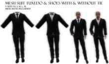 -JM- Mesh Suit Tuxedo 5 sizes black white shirt