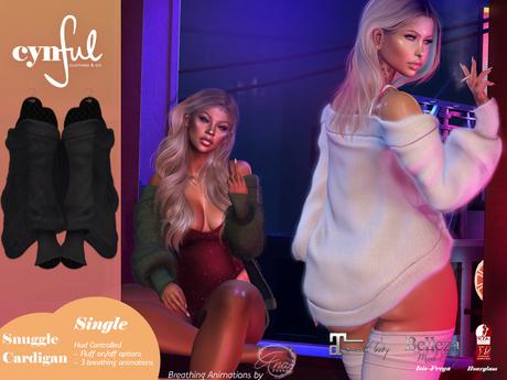 [Cynful] Snuggle Cardigan - Black [Maitreya Lara, Belleza (Isis + Freya), Slink (HG), Legacy Female