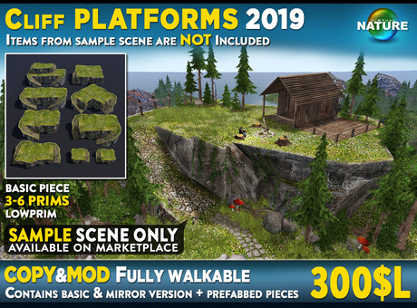 Walkable Cliff Platforms for placing house higher and level up terrain, cliff sideway