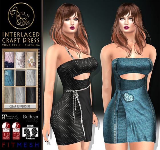 ***ArisArisB&W~Interlaced craft Dress~MULTITEXTURES HUD