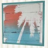 "Home Beach Wall Decor Art ""Painted Palm Tree on Wood"" Aqua Framed Picture Plaque 1 Prim Copy Modify Nautical Furnishings"