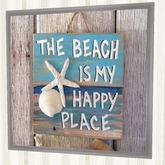 """Home Beach Wall Decor Art """"  The Beach Is My Happy Place """" framed 1 Prim Copy Modify Nautical Crafted Furnishings Plaque"""