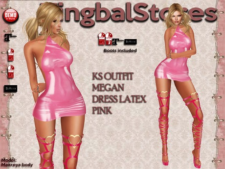 Second Life Marketplace Ks Outfit Megan Dress Latex Pink