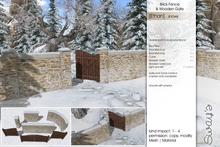 Sway's [Ethan] Brick Fence & Wooden Gate . snowy