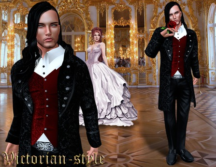 Second Life Marketplace Instyl Men S Suit Victorian Style Black Red