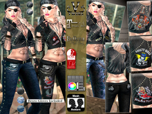 V-Twins - Biker Clothes - Knockoff Biker Version **MESH Top & Jeans [Mesh Body Compatible] Maitreya Slink & Belleza
