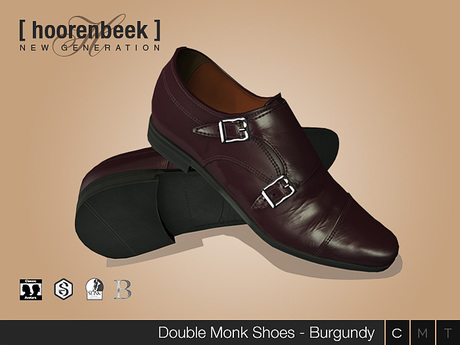 Double Monk Shoes - Burgundy