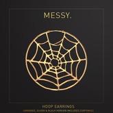 Messy. Hoop Earrings Spiderweb