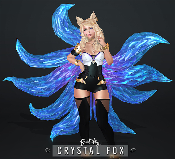 Sweet Thing. & ALTAIR* Crystal Fox Set - Fantasy Cosplay Inspired Ears and Ninetails Kitsune or Single Bento Tail