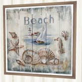"Home Wall Beach Decor Art "" Beach "" Shells, Sailboat, Lighthouse Framed 1 Prim Copy Modify Nautical furnishings"