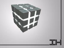 "Desk lamp ""Rubics cube - milk glass"""