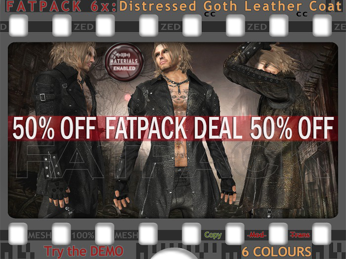 FATPACK - buy all colours @ 50% off - ZED 6x Distressed Goth Leather Coat