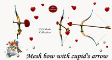 Mesh bow with cupid's arrow