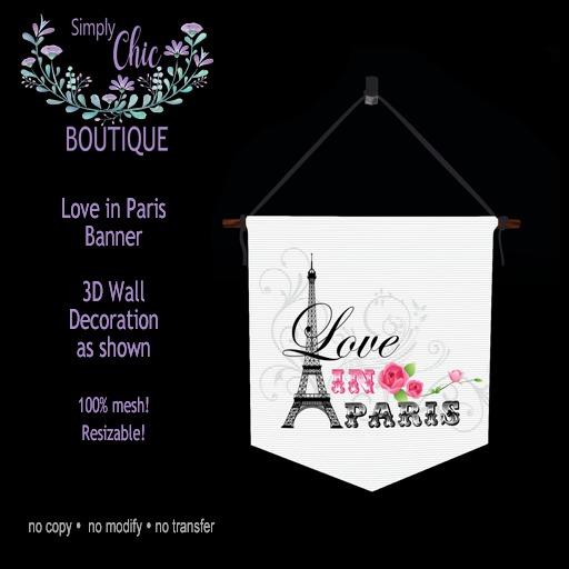 Love In Paris Wall Banner Art