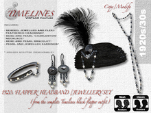 TVC 1920s Flapper complete jewellery set (black/silver)