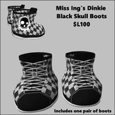 Miss Ing's Dinkie Black Skull Boots Boxed