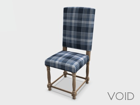 Second Life Marketplace Void Alba Dining Chair Blue Plaid