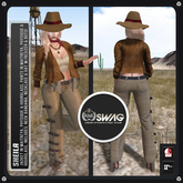 [RnR] Swag Sheila Country Western Outfit, Hat, Necklace, Bandana, Jacket, Pants, Shoes 4 Maitreya, Physique, Hourglass!