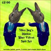 Miss Ing's Dinkie Blue Velvet Suit Set