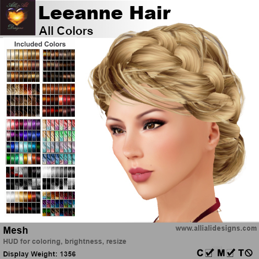 A&A Leeanne Hair All Colors V2, mesh updo with braided sides & intricate low bun, low complexity