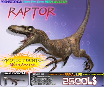 """RAPTOR"" VELOCIRAPTOR {GENETIC EDITION}  ~ Bento Mesh Dinosaur Avatar ~ Prehistorica the Dawn Kingdoms ~"