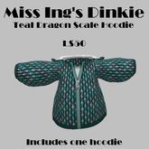 Miss Ing's Dinkie Teal Dragon Scale Hoodie Boxed