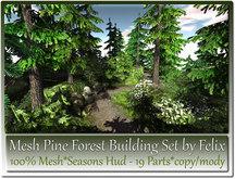 Mesh Pine Forest Building Set Seasons Hud by Felix 19 Parts c-m