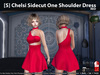 [S] Chelsi Sidecut One Shoulder Dress Red