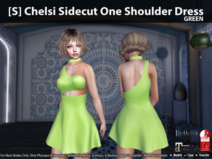 [S] Chelsi Sidecut One Shoulder Dress Green