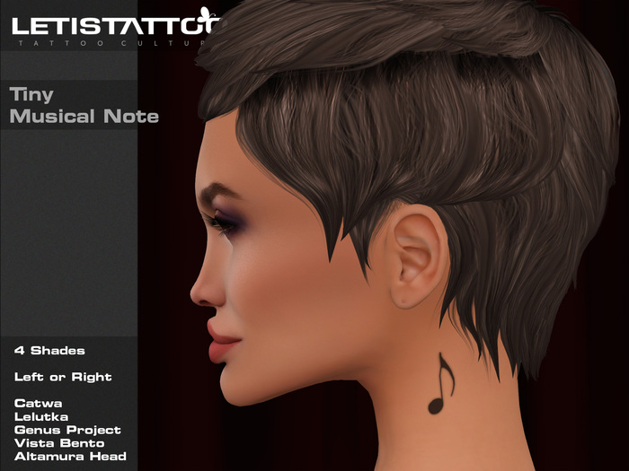 Letis Tattoo :: Tiny Musical Note :: Neck Tattoo With Appliers