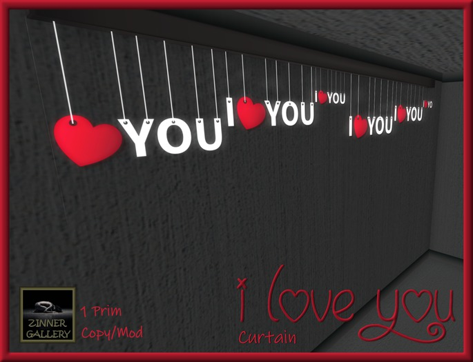 Zinner Shapes & Gallery - I Love You Curtain