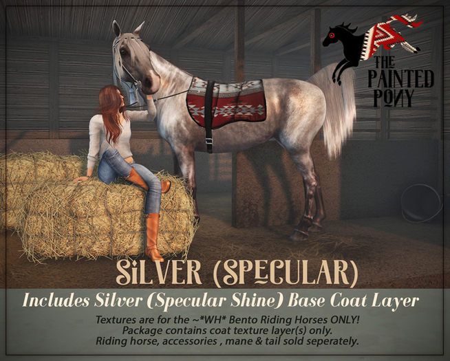 "The Painted Pony~ ""Silver"" Specular Coat for *WH* Riding Horse"