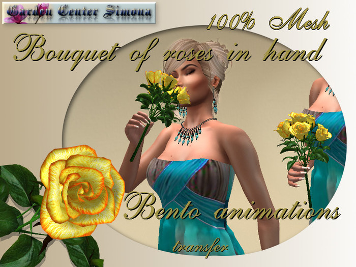 Bouquet of roses in hand, Bento animations, Yelow _006_18