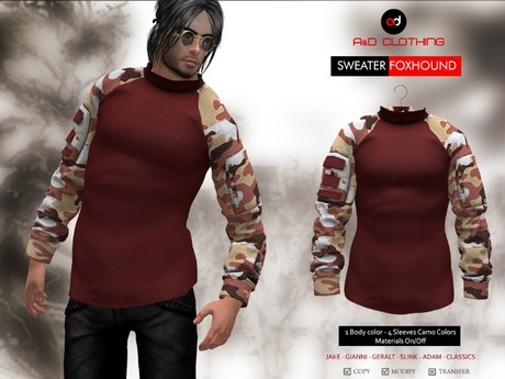A&D Clothing - Sweater -Foxhound- Maroon