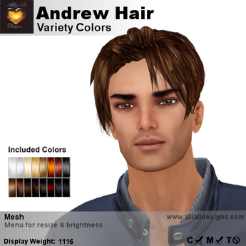 A&A Andrew Hair Variety Colors V2, casual cool men's mesh hairstyle
