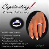 Captivating! Promises Silver Ring w Sapphires