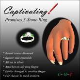 Captivating! Promises Silver Ring w Emeralds